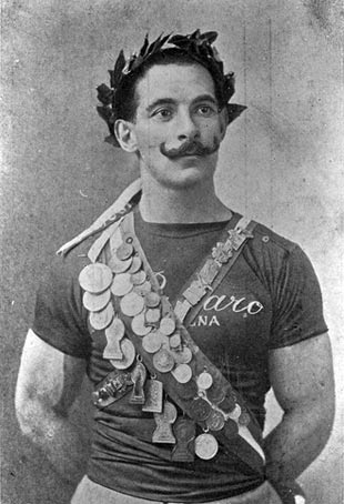 Alberto Braglia poses proudly with his many medals. In Stockholm 1912