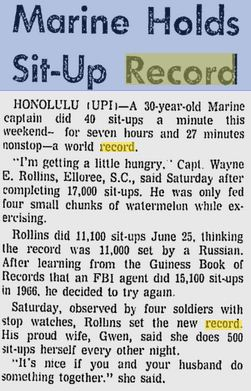 Sit up world records from the sarasota journal aug 2 1971 page 1 ccuart Gallery
