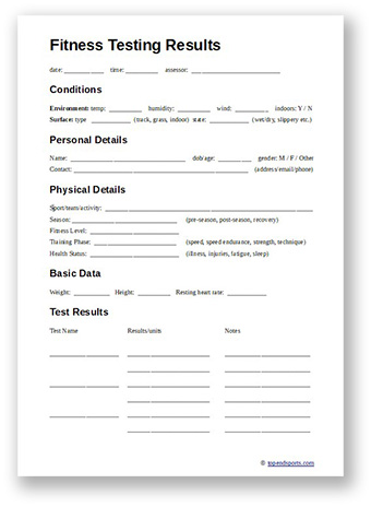 fitness testing recording sheet